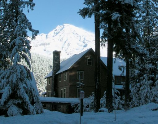 National Park Inn in winter with snow