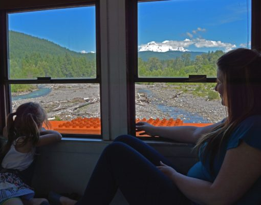 Mother and Daughter Ride the Mt. Rainier Railroad